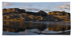 Sheep Mountain Sunrise - Panoramic-signed-12x55 Beach Towel by J L Woody Wooden