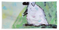 Beach Towel featuring the painting Sheep On A Hill by Maria Langgle