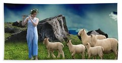 Beach Towel featuring the mixed media Sheep Whisperer by Marvin Blaine