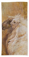 Sheep With A New Born Lamb Beach Towel