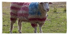 Sheep With American Flag Beach Towel