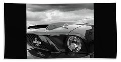 Beach Sheet featuring the photograph Shelby Super Snake Mustang Grille And Headlight by Gill Billington