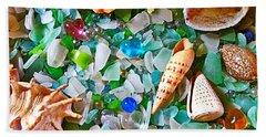 Shells And Glass Beach Towel