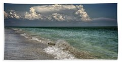 Beach Towel featuring the photograph Shells, Surf And Summer Sky by Greg Mimbs