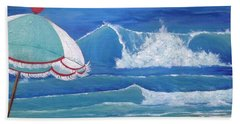 Sheltered Waves Beach Sheet by T Fry-Green