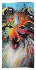 Beach Towel featuring the pastel Sheltie  by Patricia Lintner