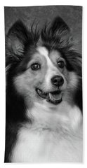 Sheltie In Black And White Beach Towel
