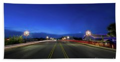 Shem Creek Christmas Light Trails Beach Towel