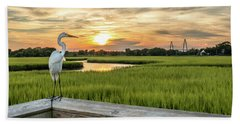Beach Towel featuring the photograph Shem Creek Pier Sunset by Donnie Whitaker