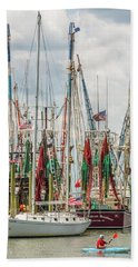 Beach Towel featuring the photograph Shem Creek Sunday by Donnie Whitaker