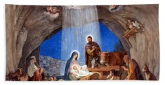 Shepherds Field Nativity Painting Beach Sheet by Munir Alawi