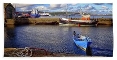 Shetland Boats Beach Towel by Lynn Bolt