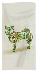 Beach Sheet featuring the painting Shiba Inu Watercolor Painting / Typographic Art by Inspirowl Design