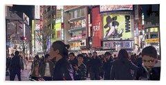 Shibuya Crossing, Tokyo Japan Poster 3 Beach Sheet