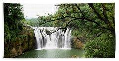 Shifen Waterfall  Beach Towel by Hanza Turgul
