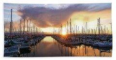 Shilshole Marina Sunset Dramatic Clouds Beach Towel