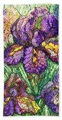 Shimmering Irises Beach Towel