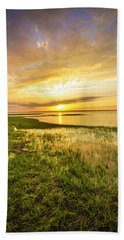 Shinnecock Bay Wetland Sunset Beach Towel