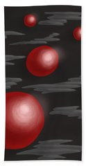 Shiny Red Planets Beach Sheet