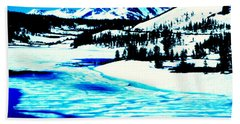 Shiny Snow Magic On Lake Beach Towel
