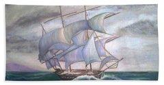 Ship Out To Sea Beach Sheet by Manuel Sanchez