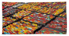 Shipping Container Yard Beach Towel