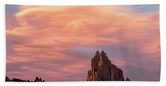 Shiprock At Sunset Beach Towel