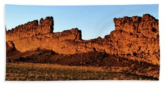 Shiprock Lava Wall 003 Panorama Beach Towel by George Bostian