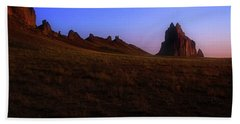 Beach Sheet featuring the photograph Shiprock Under The Stars - Sunrise - New Mexico - Landscape by Jason Politte