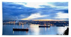 Beach Towel featuring the photograph Ships At Port Of Tacoma W A by Sadie Reneau