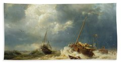 Ships In A Storm On The Dutch Coast Beach Towel