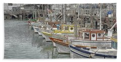 Ships In The Harbor Beach Towel