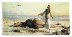 Shipwreck In The Desert Beach Towel by Carl Haag
