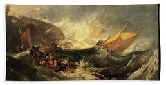 Shipwreck Of The Minotaur Beach Sheet by J M William Turner