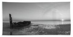 Shipwreck Panorama Bw Beach Towel