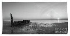 Shipwreck Sunset Panorama Bw Beach Towel