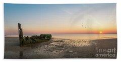 Shipwreck Sunset Panorama  Beach Towel
