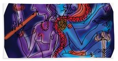 Shiva And Krishna Beach Towel