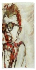 Shocked Scared Screaming Boy With Curly Red Hair In Glasses And Overalls In Acrylic Paint As A Loose Beach Towel