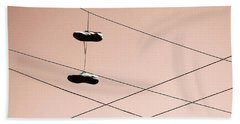 Beach Towel featuring the photograph Shoes On A Wire by Linda Hollis