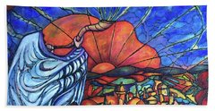 Beach Towel featuring the painting Shofar by Rae Chichilnitsky