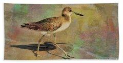 Beach Towel featuring the painting Shore Bird Beauty by Deborah Benoit
