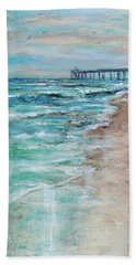 Beach Towel featuring the painting Shoreline And Pier by Linda Olsen