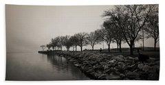 Shoreline Mist Beach Sheet by Shawna Rowe