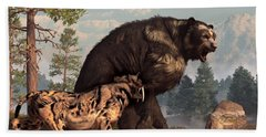 Short-faced Bear And Saber-toothed Cat Beach Towel