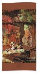 Beach Towel featuring the painting Short Reprieve by Ryan Fox