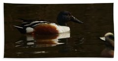 Beach Towel featuring the photograph Shovel Tail And A Wigeon by Jeff Swan