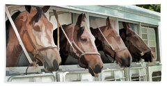 Beach Towel featuring the photograph Show Horses On The Move  by Wilma Birdwell