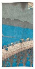 Shower Over Ohashi Bridge Beach Towel