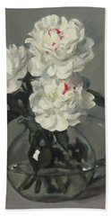 Showy White Peonies In Glass Pitcher Beach Towel